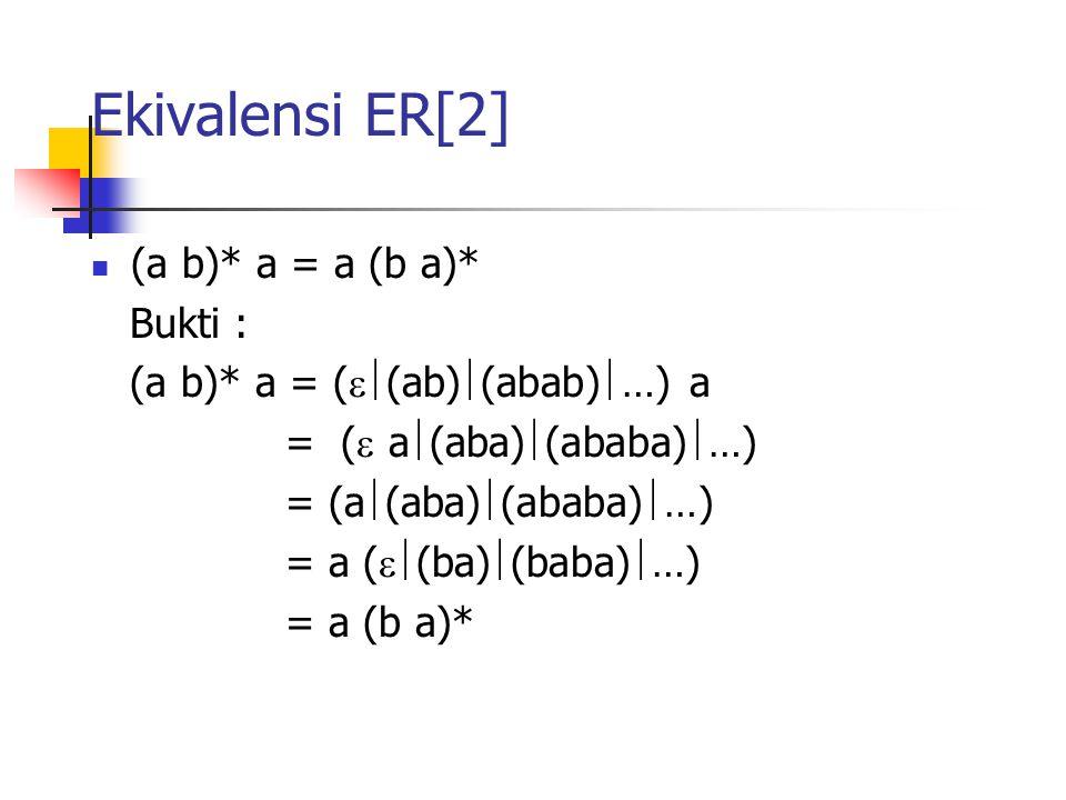 Ekivalensi ER[2] (a b)* a = a (b a)* Bukti :